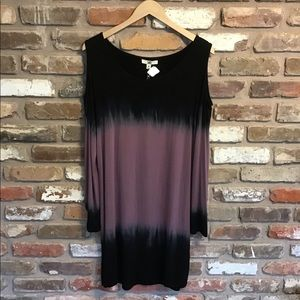 YA LOS ANGELES Tie Dyed Cold Shoulder Dress NEW